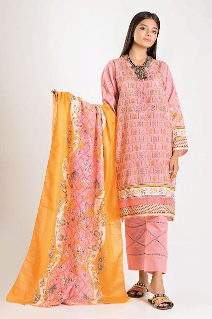khaadi winter collection karandi pink and orange dress