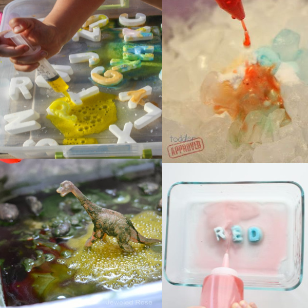 50+ super fun ways for kids to experiment with baking soda and vinegar. #vinegarandbakingsodaexperiment #bakingsodauses #bakingsodaandvinegarexperimentkids #bakingsodaandvinegar #fizzingexperimentsforkids #fizzyscience #scienceexperimentskids #scienceforkids #growingajeweledrose #volcanoprojectforkids #volcano