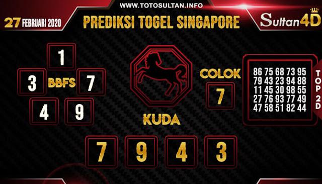 PREDIKSI TOGEL SINGAPORE SULTAN4D 27 FEBRUARI 2020