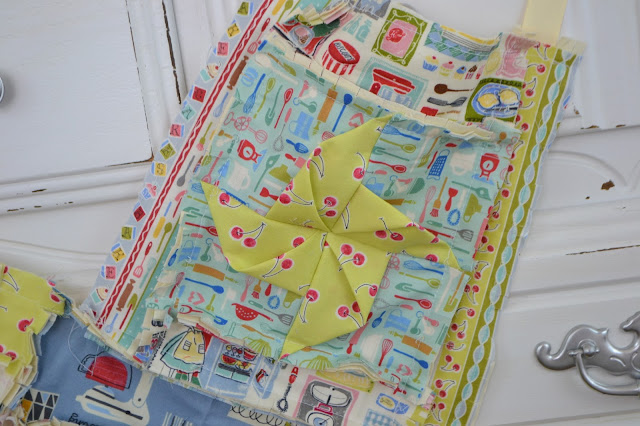 3-d Pinwheel Pattern Rag Quilt Style for Apron by A Vision to Remember