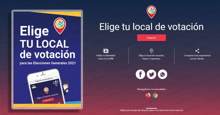 DÓNDE ME TOCA VOTAR ONPE 2021: Elige tu Local de Votación para las Elecciones Generales (11 Abril) www.eligetulocal.pe