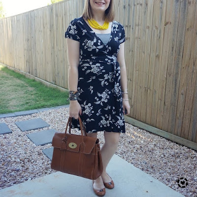 awayfromtheblue Instagram summer office outfit floral wrap dress with yellow statement necklace mulberry bayswater hermes twilly bracelet