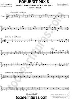 Mix 8 Partitura de Oboe La Escaleritas con Notas, La Reina de los Mares, Polka Popurrí 8 Sheet Music for Oboe Music Score
