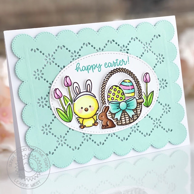 Sunny Studio Stamps: Frilly Frame Dies Stitched Oval Dies Chickie Baby Easter Card by Leanne West