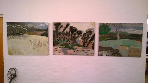 Tre værker af Helle Baslund i Fredens Sogns Kunstforening