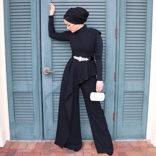 فستان جمبسوت اسود للمحجبات موديل 2020
