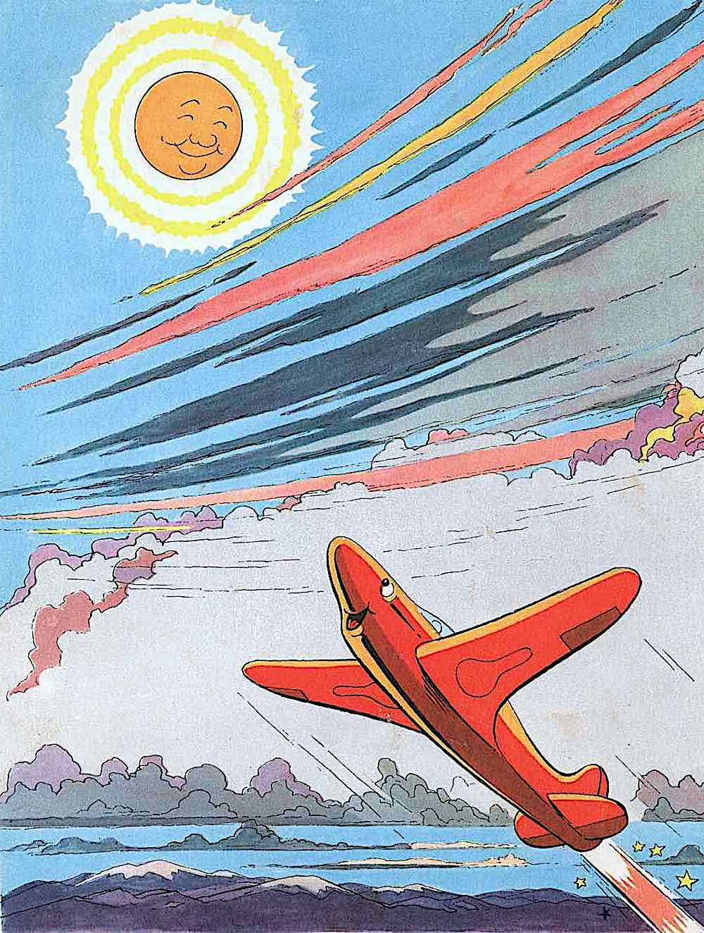 a Paul Pinson 1950 children's book illustration of a happy flying airplane meeting the smiling sun