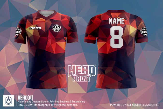 Orange Brown Polygon Jersey Full Print Custom - Head Print Jersey