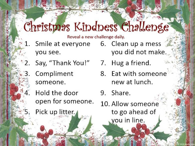 Ideas of how to spread kindness the ten days before Christmas.