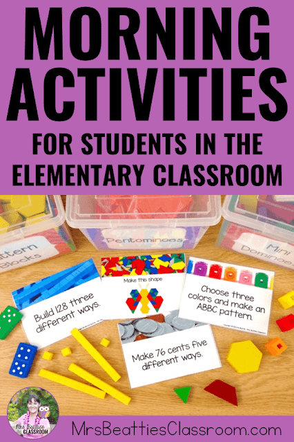 """Photo of math morning activities and text """"Morning Activities For Students in the Elementary Classroom"""""""
