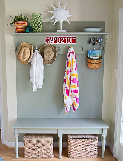 DIY Entryway Hall Tree with Bench