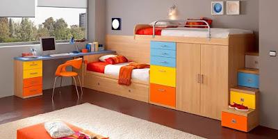 contoh desain furniture tempar tidur anak minimalis 2016