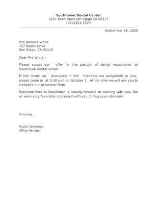 Employer Acceptance Letter