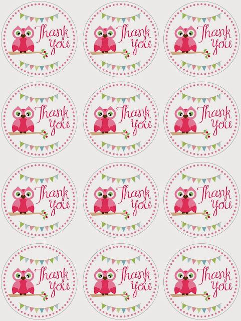 Toppers o Etiquetas para Imprimir Gratis de  Búho en Rosa.