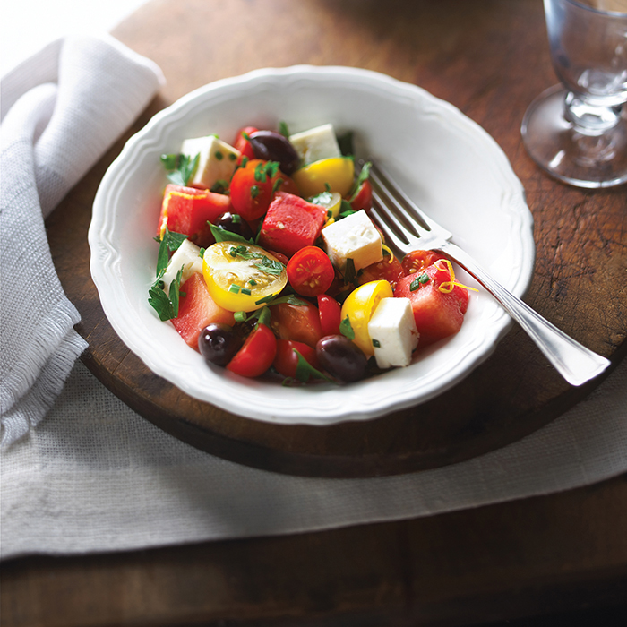 Cherry Tomato And Honeydew Melon Salad With Maple Syrup..
