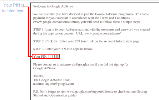 Google Adsense Personal Identification Number (PIN)
