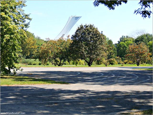 Vista de la Torre Olímpica desde el Jardín Botánico de Montreal