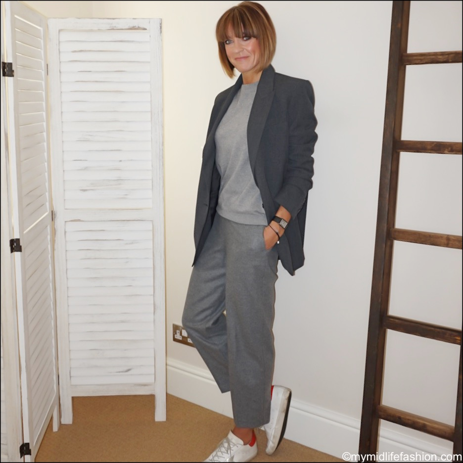 my midlife fashion, Zara oversized blazer with pockets, marks and Spencer pure cashmere crew neck jumper, golden goose superstar low top leather trainers, marks and Spencer wool rich straight leg ⅞ trousers