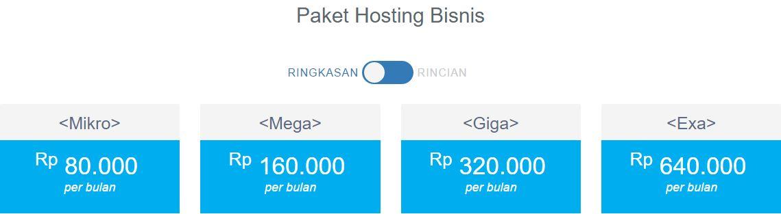 harga paket hosting bisnis di domainesia