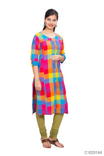 Simple Cotton Solid With Printed 3/4th Sleeve Maternity kurtis