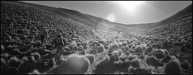 Photo panoramique de marcheur à l'approche d'un col à 4600 m d'altitude sur la Puna argentine