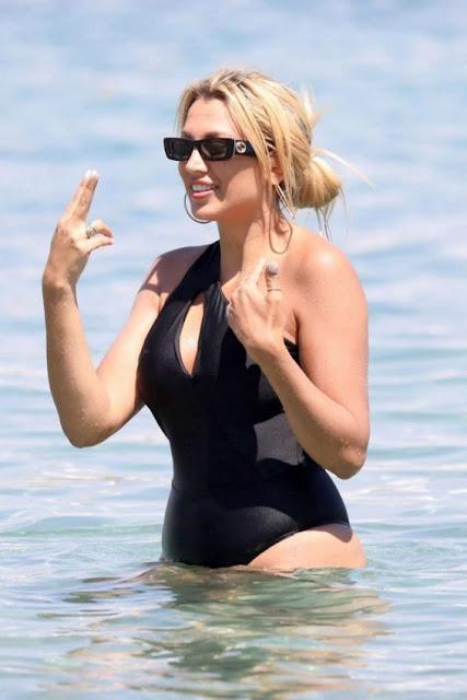 Konstantina-Spyropoulou-in-Black-Swimsuit-2019-