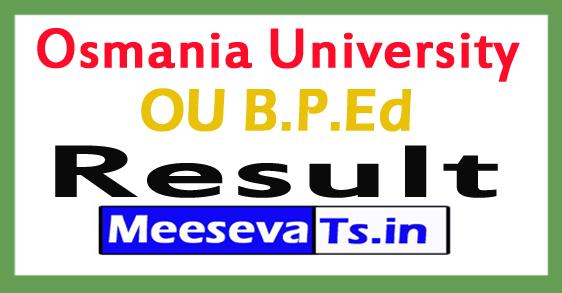 Osmania University B.P.Ed Results 2017