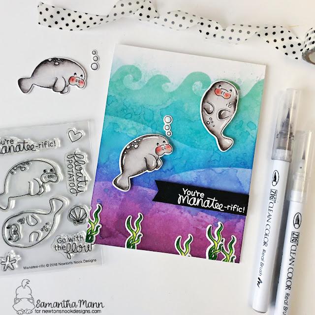 Manatee Card by Samantha Mann | Manatee-rific Stamp Set, Hills & Grass Stencil and Waves & Splashes Stencil by Newton's Nook Designs #newtonsnook #handmade