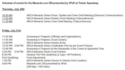 Schedule for Menards.com 200 presented by SPxE