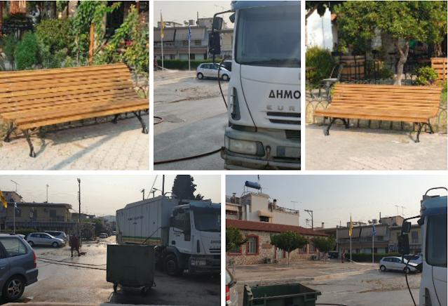 Εκτεταμένες εργασίες καθαριότητας και  νέα παγκάκια στην Τοπική Κοινότητα Δρεπάνου