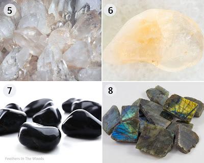 Clear quartz, Citrine, Onyx and Labradorite natural gemstones.