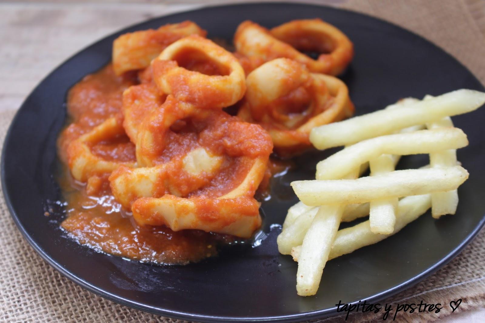 Tapitas y postres calamares en salsa americana for Cocinar 7 mares