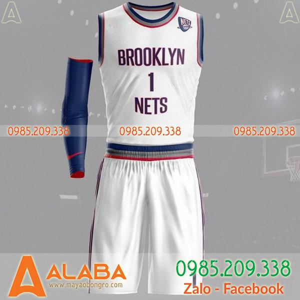 Áo bóng rổ Brooklyn màu trắng đẹp