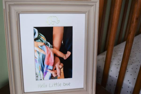 framed baby photo with mat decorated with foil transfer elephant and Hello Little One phrase
