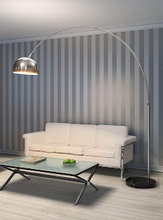 modern silver arch floor lamp mixed with marvellous white arm sofa plus glass coffee table