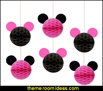 Minnie Mouse Themed Party Decorations pink black Minnie Mouse Honeycomb Balls