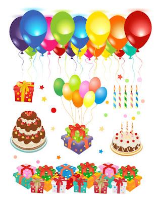 Elementos vectoriales para cumpleaños
