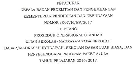 POS Ujian Sekolah/Madrasah (US/M) SD/MI, SDLB, Paket A/Ula Tahun Pelajaran 2016/2017