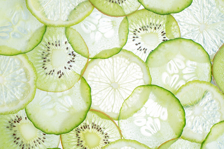 thinly sliced green fruits