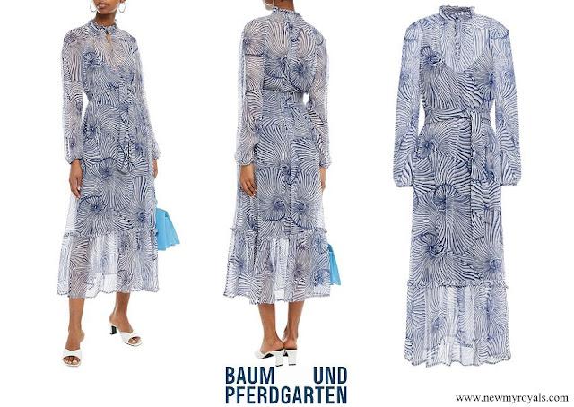 Crown Princess Victoria wore Baum Und Pferdgarten Antoinette belted printed georgette midi dress