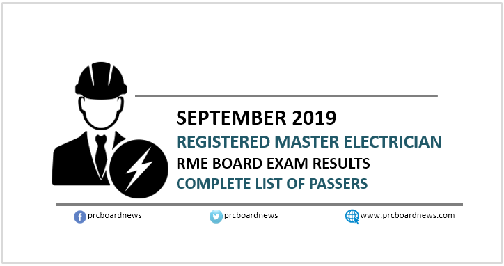 RME List of Passers: September 2019 Registered Master Electrician board exam result