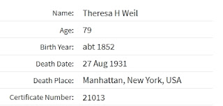 """""""New York, New York, Extracted Death Index, 1862-1948,"""" database, Ancestry.com(www.ancestry.com : accessed 28 Mar 2019), entry for Theresa h Weil, died 27 Aug 1931; citing the Index to New York City Deaths 1862-1948. Indices prepared by the Italian Genealogical Group and the German Genealogy Group."""