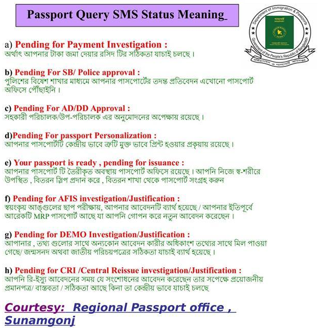 passport is ready pending for issuance - status of Bangladesh Passport