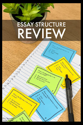 Review the structure of an essay with your middle school students using these task cards!   It's low prep, fun, and easy to grade!