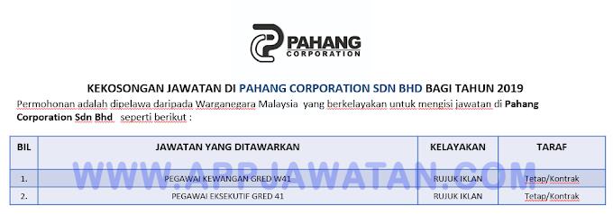 Jawatan Kosong Terkini di Pahang Corporation Sdn Bhd.