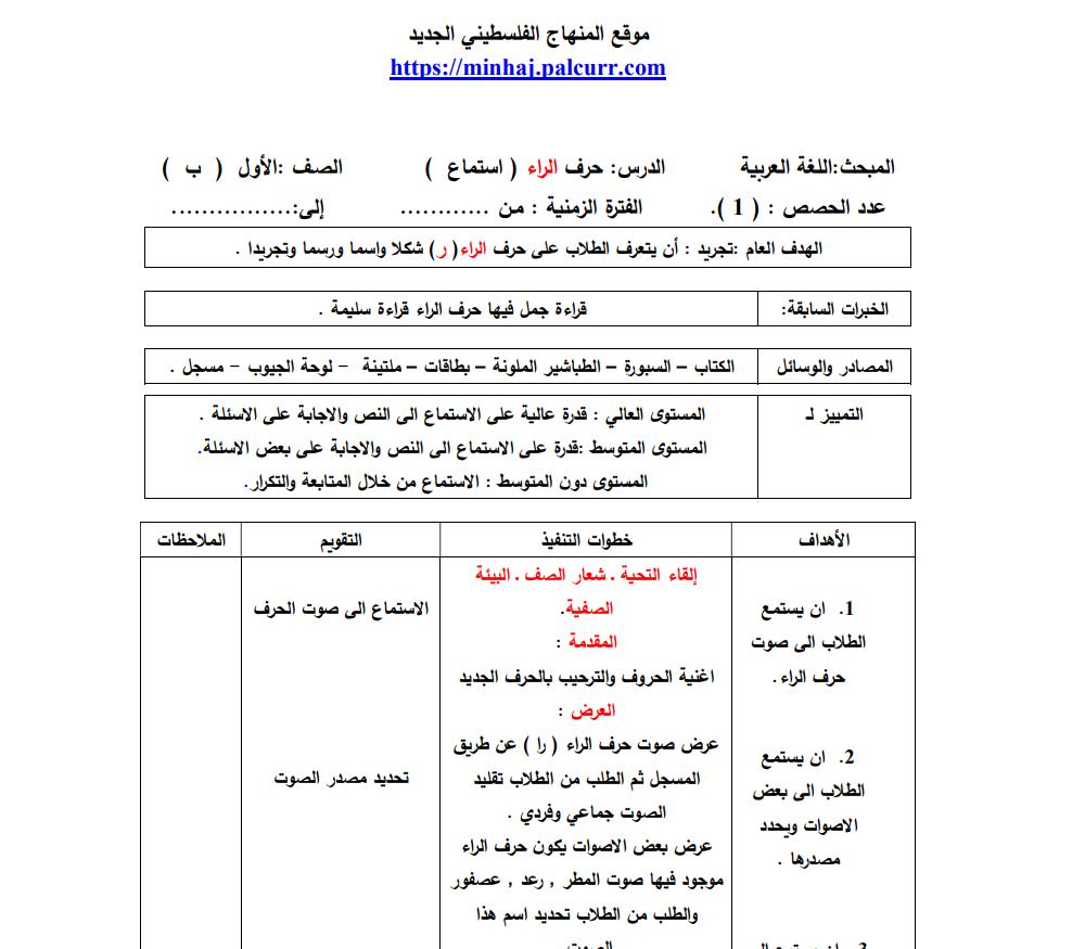تحضير اللغة العربية للصف الاول الابتدائي بالطريقة العمودية الاهداف