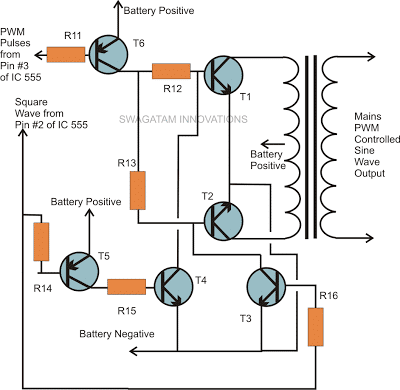 power transistor connection with pwm and transformer