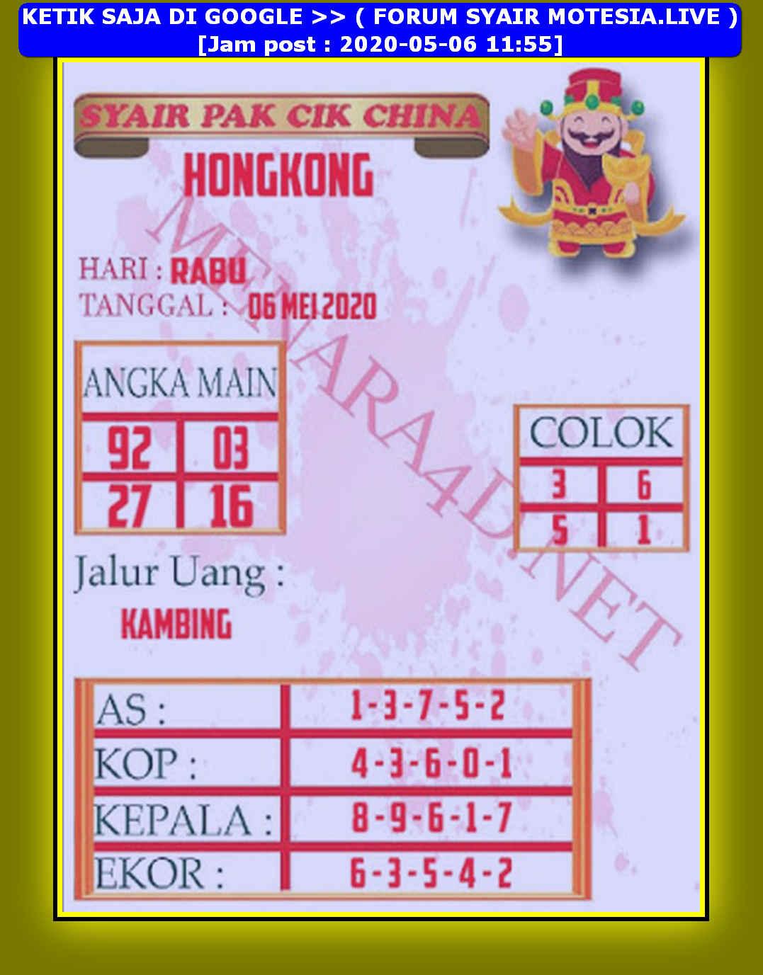 Kode syair Hongkong Rabu 6 Mei 2020 209
