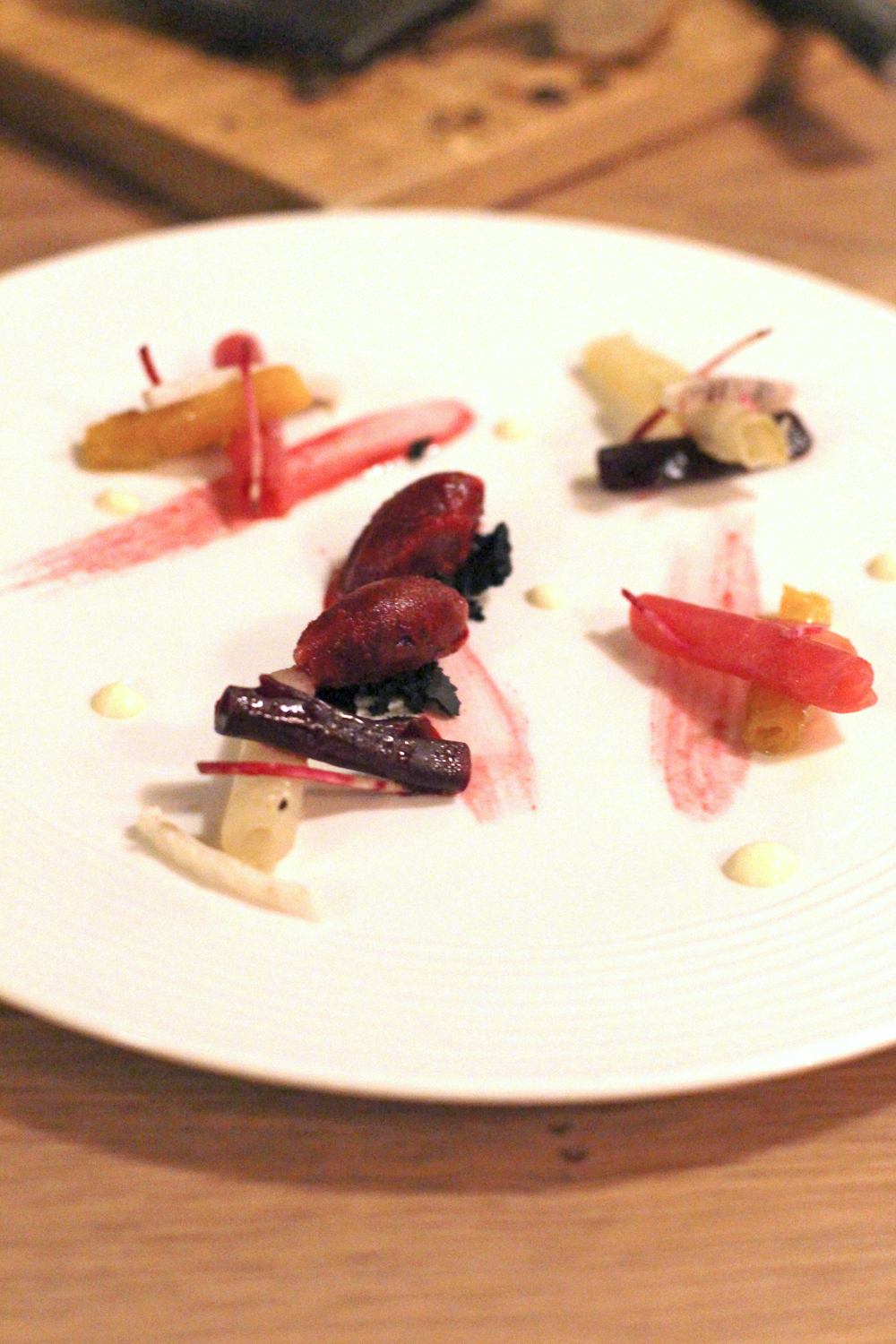 Beetroot starter at Le Diamont Noir, Hotel Koh-I Nor in Val Thorens, Les Trois Vallees - luxury travel blog