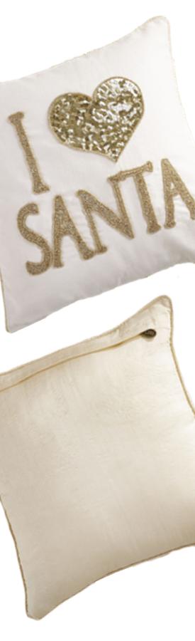Pier One Beaded I Heart Santa Pillow